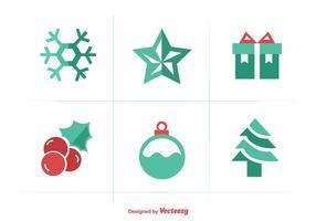 Weihnachten flache Farbe Iconset vektor