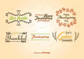 Caligraphic Thanksgiving etiketter vektor