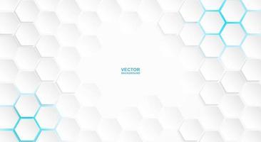 weißes Sechseckmuster mit blauen Lichtern vektor