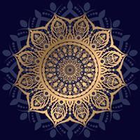 sternförmiges goldenes Mandala auf dunkelblau vektor