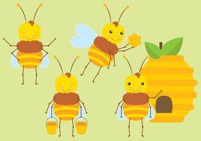 Söt Cartoon Bees vektor
