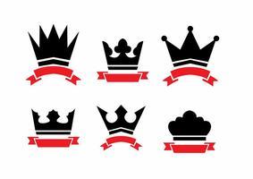 Crown och Ribbon Logo Vectors