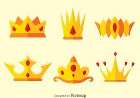 Krona plana logovektorer vektor