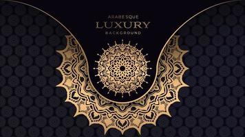 überlappendes goldenes Mandala auf schwarzem Design