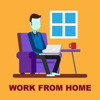 Mann arbeitet am Laptop von zu Hause aus vektor