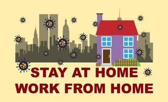 zu Hause bleiben, von zu Hause aus arbeiten vektor
