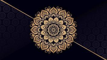 goldenes Mandala mit diagonalem Goldlinienhintergrund vektor