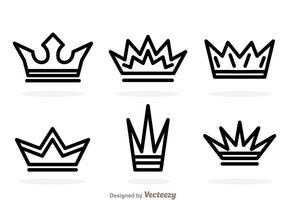 Outline crown logo vektorer