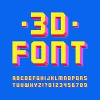 moderna 3d geometriska skugga alfabetet vektor