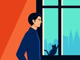 Mann mit Katze auf Fensterbank Selbstisolationskonzept
