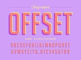 trendiges Offset-Aufdruck-Alphabet-Design vektor