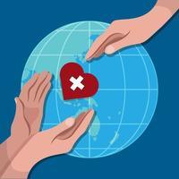 Herz über Globus mit Händen vektor