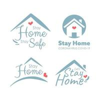 stay home logo set för coronvirus