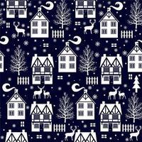 Nahtloses Winterweihnachtsmuster mit Häuschen und Hirsch vektor