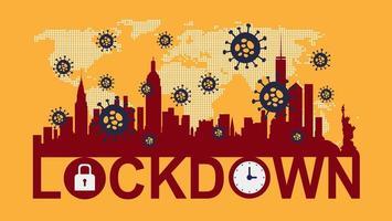 affisch av stads silhuett med lockdown text vektor