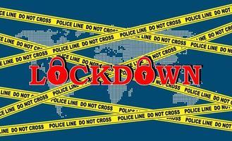Plakat mit Polizeiband, Weltkarte und Sperrtext