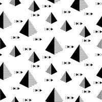 nahtloses geometrisches Muster mit Pyramiden und Pfeilen