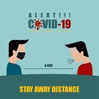 Männer 6 Fuß voneinander entfernt für soziale Distanzierung