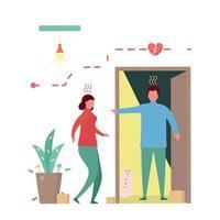 man argumenterar med flickvännen framför dörren