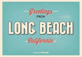 Lång strand retro hälsning illustration