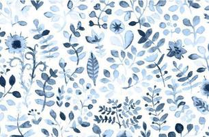 Aquarell blaue Blätter Hintergrund