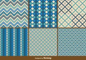 Blå Retro och Geometriska Mönster