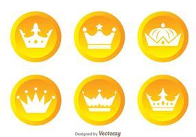 Krona guld cirkel logotyper vektor