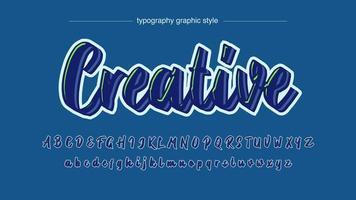 neonblått och grönt ljus kalligrafi typsnitt vektor