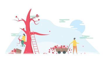 Frau sitzt auf Baum und Mann mit Schubkarre der Herzen