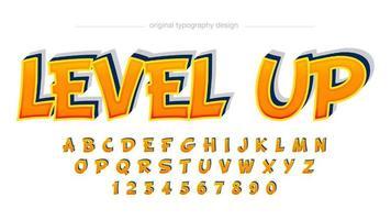 klassisches orange Spiel oder Comic-Alphabet-Stil vektor