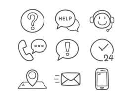 kontakta oss ikoner set vektor