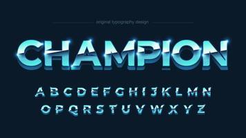 ljusblått krom med stora bokstäver i fetstil