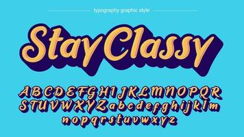 gula långa skugga stil kalligrafi typsnitt vektor