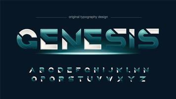 abstraktes grünes futuristisch geschnittenes Alphabet