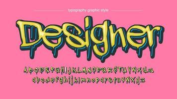 moderna gula droppande grafittiteckensnitt vektor