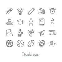 Zurück zur Schule handgezeichnete Ikonen gesetzt vektor