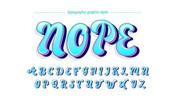 neonblå lila versal kalligrafi stil typsnitt vektor