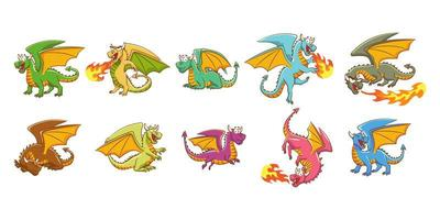 Drachen-Cartoon-Set vektor