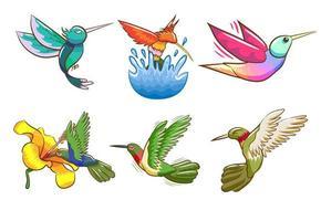 tecknad kolibri uppsättning vektor