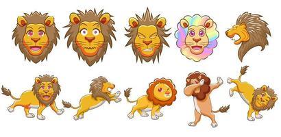 tecknad lejonuppsättning