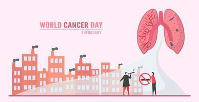 världscancer dag lungcancer genom rökning vektor