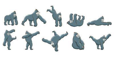 uppsättning tecknade gorillaer vektor