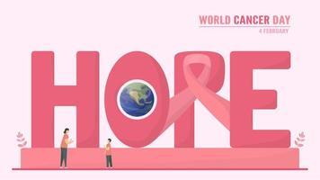 rosa '' Hoffnung '' Text für den Weltkrebstag vektor