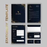 märkesidentitetsuppsättning med guldfärgningar på mörkblått