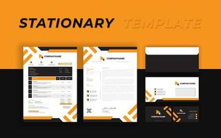 Markenidentität mit orange abgewinkelten Streifen vektor