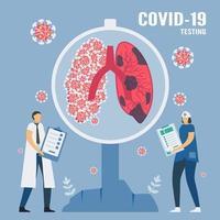 covid-19 lungtest med läkare och sjuksköterska vektor