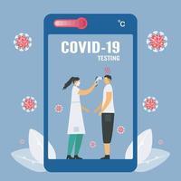 covid-19-testning på smarttelefonskärmen vektor