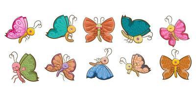 Cartoon Schmetterling Set vektor