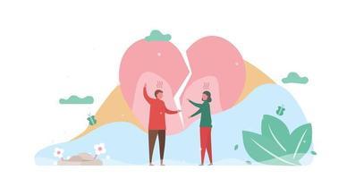 Mann streiten mit Frau mit gebrochenem Herzen hinter vektor