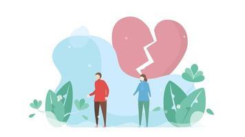 großes, rosa, gebrochenes Herz hinter dem Paar